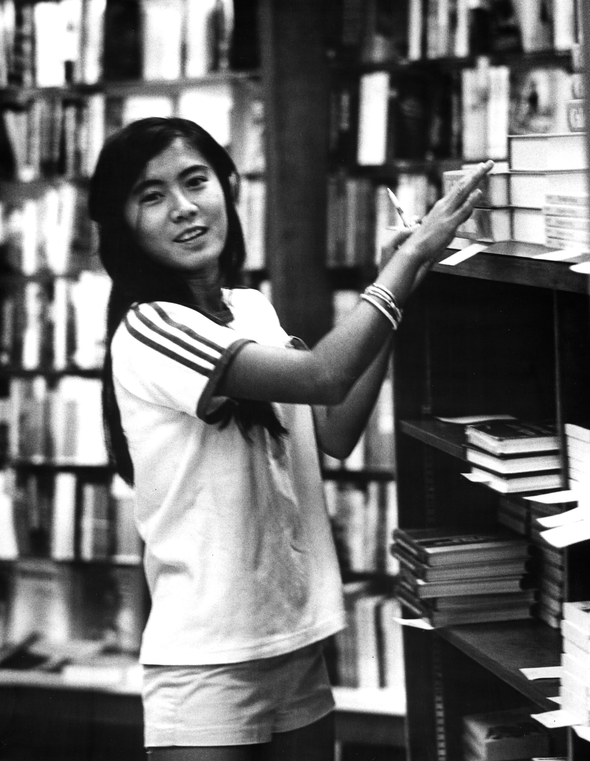 Student in bookstore